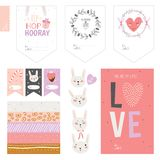 Set of cards, notes and stickers with cute