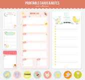 Set of cards, notes and stickers with cute Royalty Free Stock Photo