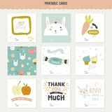 Set of cards, notes and stickers with cute Royalty Free Stock Photos