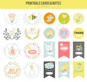 Set of cards, notes and stickers with cute Stock Photos