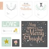 Set of cards, notes and stickers with cute Royalty Free Stock Images