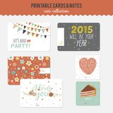 Set of cards, notes and stickers with cute Stock Images