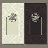 Set of cards. Ornate design can used for invitation, greeting or business card. Template for your design. Mandala vector backgroun stock illustration