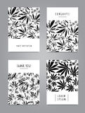 Set of cards with pattern of marijuana leaves Stock Images
