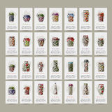 Set of cards, pickle jars with fruits and Stock Photography
