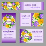 Set of cards with a picture of wild flowers Royalty Free Stock Photos