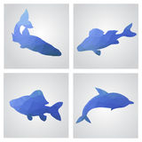Set of cards in polygonal style. Fishes, fishing, dolphin. Vecto Royalty Free Stock Photography