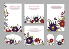Set of cards, posters, flyers with floral ornaments. vector illustration