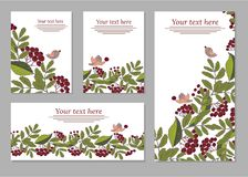 Set of cards, posters, flyers with floral ornaments. Flowers elements stock illustration