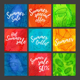 A set of cards, price tags, coupons, banners summer sale.  Royalty Free Stock Photo