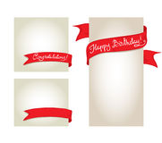 A set of cards with red ribbons Royalty Free Stock Photos