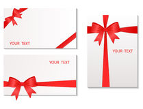 Set of the cards with red tape Stock Photography