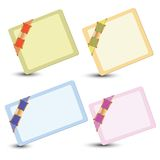 Set of cards with ribbons Stock Photos