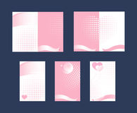 Set of cards Ribbons Pink and white Royalty Free Stock Photography