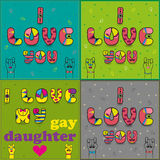 Set of cards with romantic texts by artistic font royalty free stock image