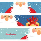 Set of cards Santa Claus. Jolly good Christmas grandfather with Stock Photos