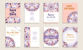 Set of cards save the date. Set of business cards for design. Vintage template colorful circular pattern. Colored vector illustration for corporate identity Stock Images