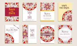 Set of cards save the date. Vintage template colorful circular pattern. Colored vector illustration for form style Stock Photography