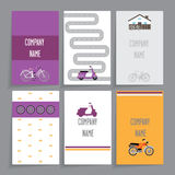 Set of cards. A set of cards with the scooters. It includes six cards with a different design.It contains a motorcycle, scooter, bicycle. Dark gray background Stock Images