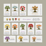 Set of cards with season trees for your design Stock Photos
