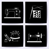Set of cards with sewing machine, needle. The white line on blackboard. Stock vector illustrations of objects for Stock Image
