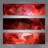 Set of cards with shining red polygonal pattern Stock Images