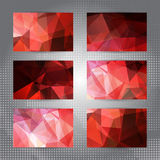 Set of cards with shining red polygonal pattern Royalty Free Stock Photo