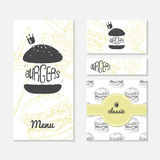 Set of cards with sketched burger. Fast food branding. Menu, business card, banner, wrapping paper. Set of cards with sketched burger. Fast food restaurant stock illustration