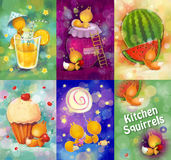 Set of cards with small squirrels in the kitchen. Characters design for invitations or greeting cards. Raster illustration royalty free illustration