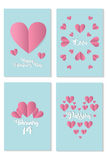 Set of cards for st. Valentine day with pink hearts over blue background. Royalty Free Stock Photo