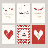 Set of cards for st. Valentine day. Red and white hearts, love letters. Vector illustration Royalty Free Stock Photos