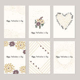 Set of cards for st. Valentine day. Red and white hearts, love letters. Vector illustration Stock Photos