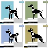 Set of cards with the stylized dog breeds of Airedale Terrier, Doberman, Laika and German Shepherd. Vector. Set of cards with the stylized dog breeds of Airedale stock illustration