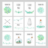 Set of cards with succulents Royalty Free Stock Image