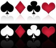 Set of cards symbols. Illustration of the 4 digital glossy cards symbol, on white and black background vector illustration