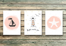 Set of cards templates in marine style. Elegant invitation card. Greeting card. Light inside you - quote. vector illustration