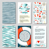 Set of 6 cards templates with sea background Stock Photo