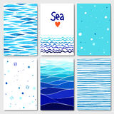 Set of 6 cards templates with sea background Royalty Free Stock Photos