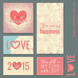 Set of cards templates for Valentine day. Lettering. Hearts. Typography. Vintage Royalty Free Stock Photography
