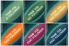 Set cards - thank you followers Stock Images