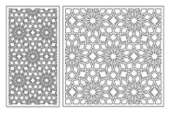 Set of cards to cut. Vector panels for laser cutting. The ratio 1:1, 1:2. Cut silhouette with geometric patterns. Stock Images