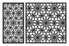 Set of cards to cut. Vector panels for laser cutting. The ratio 1:1, 1:2. Cut silhouette with geometric patterns. Royalty Free Stock Photo