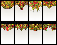 Set Of 8 Cards With Tribal Ornaments Royalty Free Stock Image