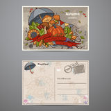 Set cards of two sides on the autumn theme Royalty Free Stock Images