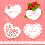 Set of cards Valentine heart-shaped Royalty Free Stock Photos