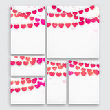 Set of Cards for Valentine`s Day Celebration. Set of Greeting cards, Invitations, Banners or Post with colorful Hearts decoration for Happy Valentine`s Day Royalty Free Stock Image