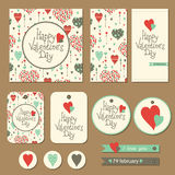 Set of cards for Valentine's day Royalty Free Stock Images