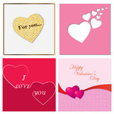 A set of cards for Valentine`s Day. Vector illustration. Royalty Free Stock Images