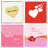 A set of cards for Valentine`s Day. Vector illustration. Royalty Free Stock Photos