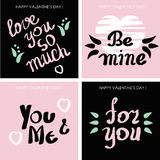 Set of cards for Valentine's day or wedding, vector Stock Photo